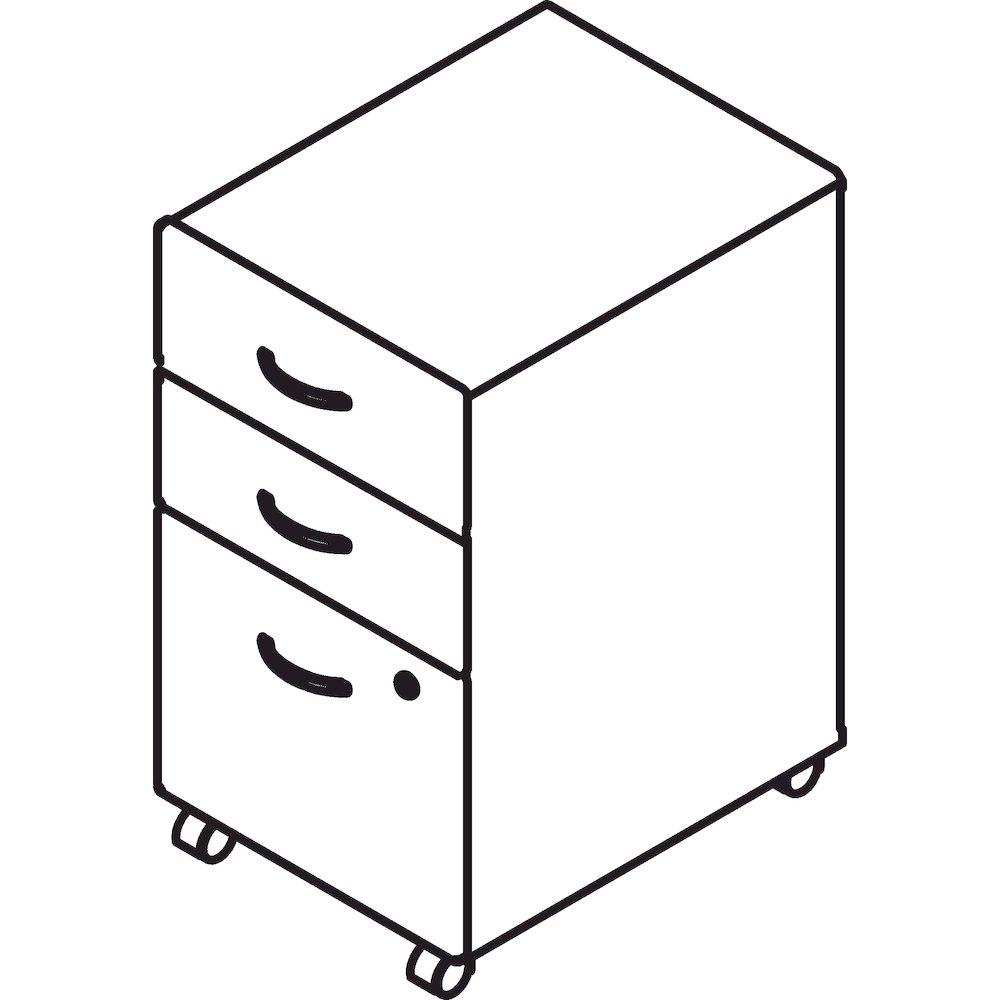 "Bush Business Furniture Series A 3 Drawer Mobile Pedestal - Assembled - 15.5"" x 20.3"" x 28.2"" - 3 x File Drawer(s) - Material: Pressboard, Melamine, Hardwood, Engineered Wood, Wood - Finish: Laminate,. Picture 5"