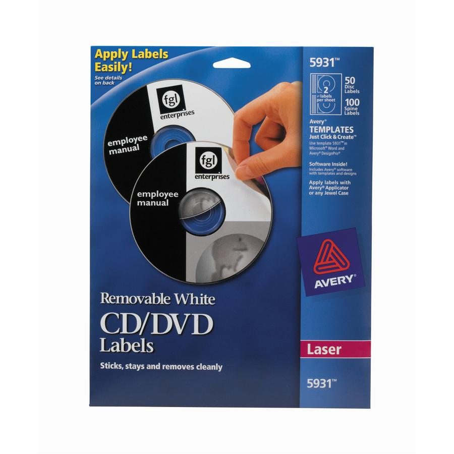 Avery® 5931 Laser Labels Shuttered Jewel Case Inserts with Software for CD/DVD - Laser - 50 / Pack. Picture 2