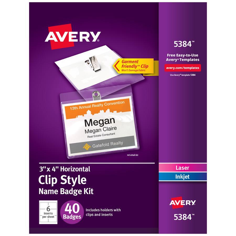 Avery® Laser, Inkjet Laser/Inkjet Badge Insert - White, Clear - 40 / Box - Printable. Picture 2