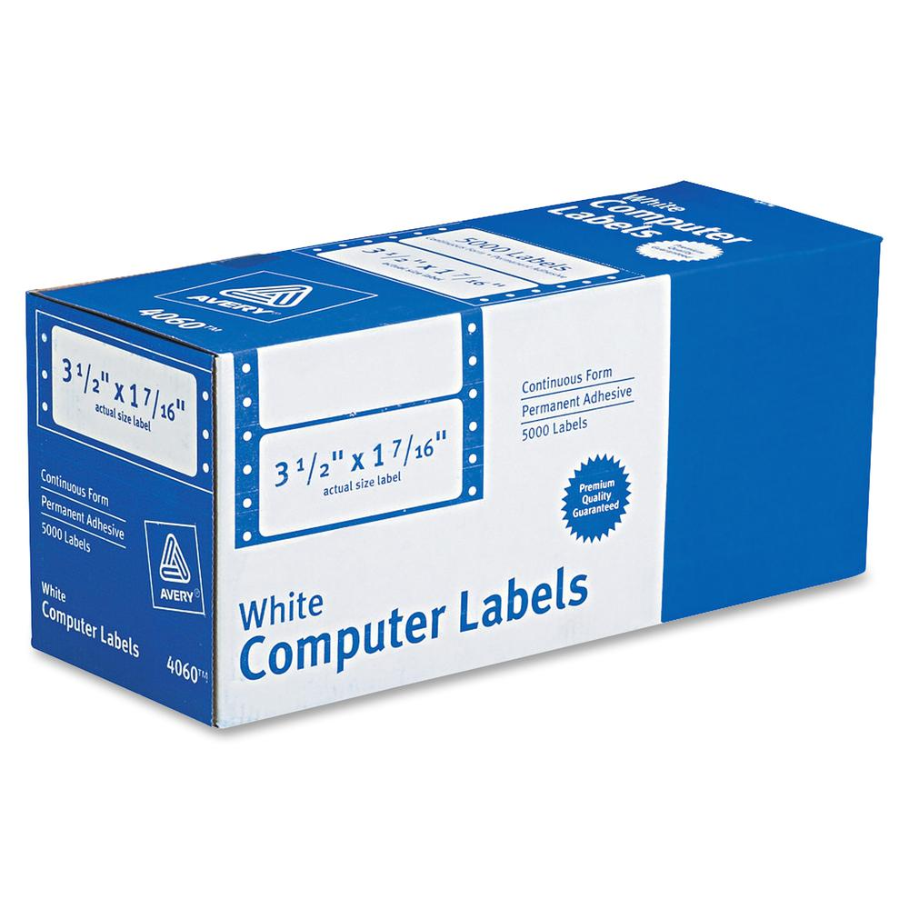 """Avery&reg Mailing Labels for Pin Fed Printers - Permanent Adhesive - 3 1/2"""" Width x 1 7/16"""" Length, 4 1/4"""" Length - Rectangle - Dot Matrix - White - 5000 / Box. Picture 4"""
