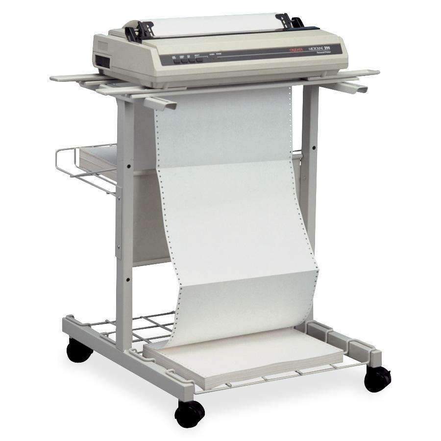 "MooreCo JPM Adjustable Steel Printer Stand - 27"" Height x 35"" Width x 29"" Depth - Metal - Light Gray. Picture 2"