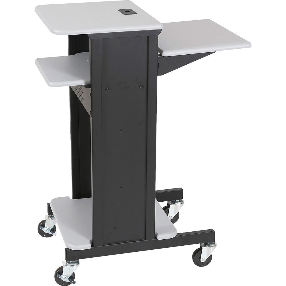 "MooreCo 3-Shelf Presentation Cart - 2 x Shelf(ves) - 4.8"" Height x 27"" Width x 7.2"" Depth - Gray. Picture 2"