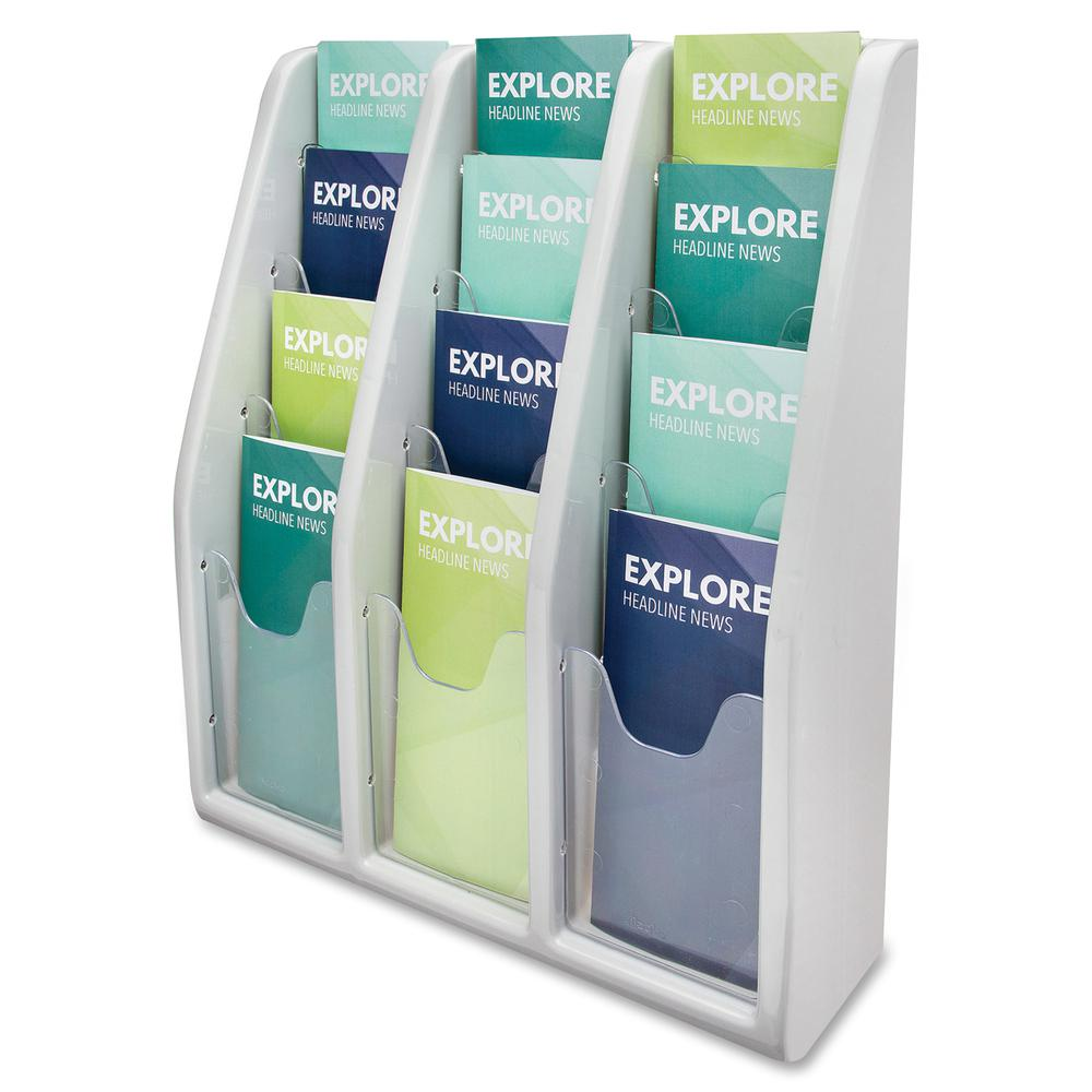 """Deflecto Multi-Compartment Literature Display - 12 Pocket(s) - 19.8"""" Height x 15.8"""" Width x 5"""" Depth - Desktop - Durable, Lightweight - Gray - Plastic - 1 Each. Picture 7"""