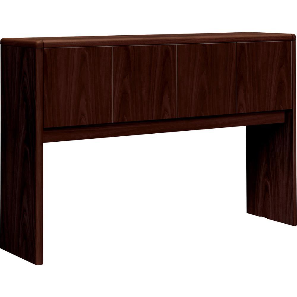 "HON 10700 Series 4-Door Stack-On Hutch - 56.6"" x 14.6"" x 37.1"" - Drawer(s)4 Door(s) - Waterfall Edge - Material: Wood Door - Finish: Laminate, Mahogany. Picture 6"