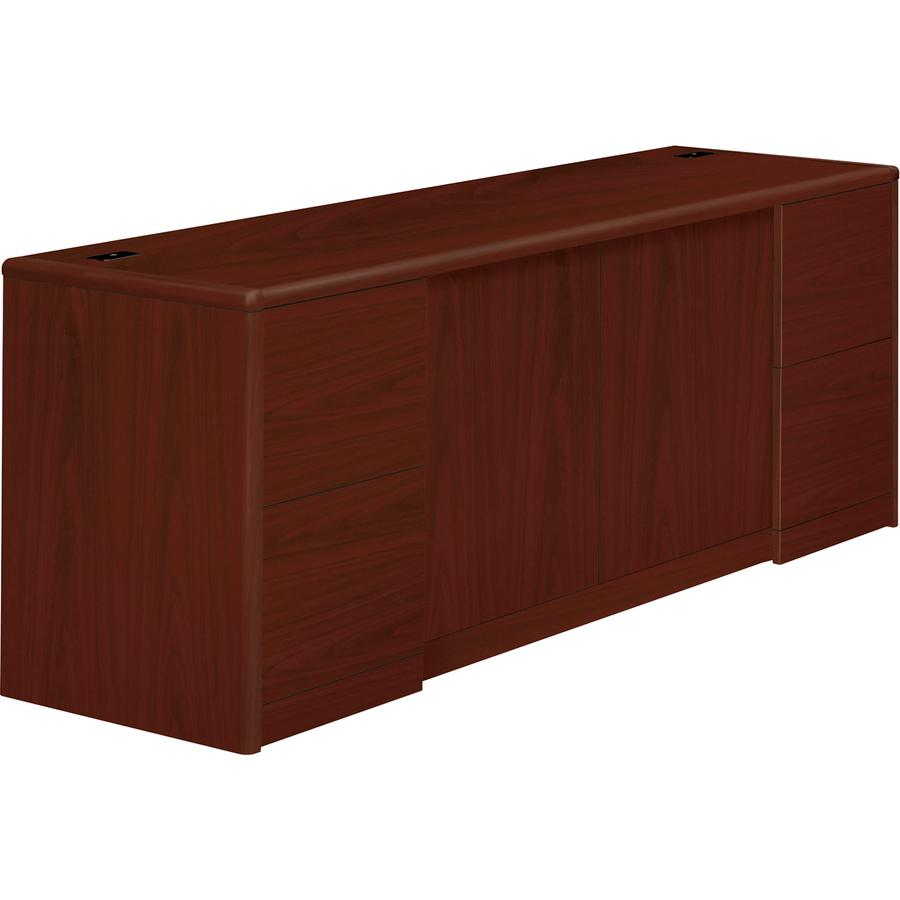 """HON 10700 Series Double Pedestal Credenza - 4-Drawer - 72"""" x 24"""" x 29.5"""" - 4 x File Drawer(s) - 2 Door(s) - Double Pedestal - Waterfall Edge - Material: Wood - Finish: Laminate, Mahogany. Picture 6"""