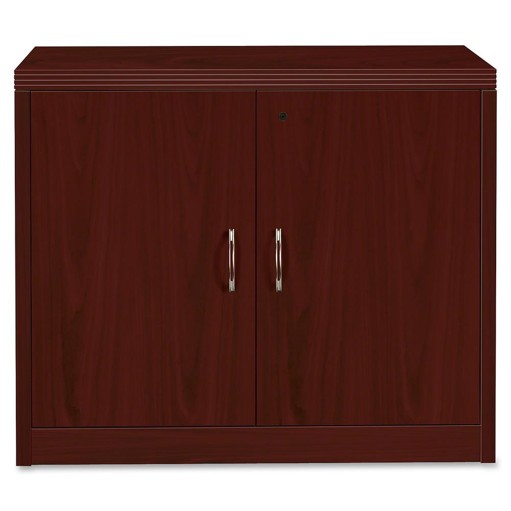"""HON Valido Storage Cabinet, 36""""W - 2-Drawer - 36"""" x 20"""" x 29.5"""" x 1.5"""" - 2 x File Drawer(s) - 2 Door(s) - 1 Shelve(s) - Ribbon Edge - Material: Particleboard - Finish: Laminate, Mahogany. Picture 5"""