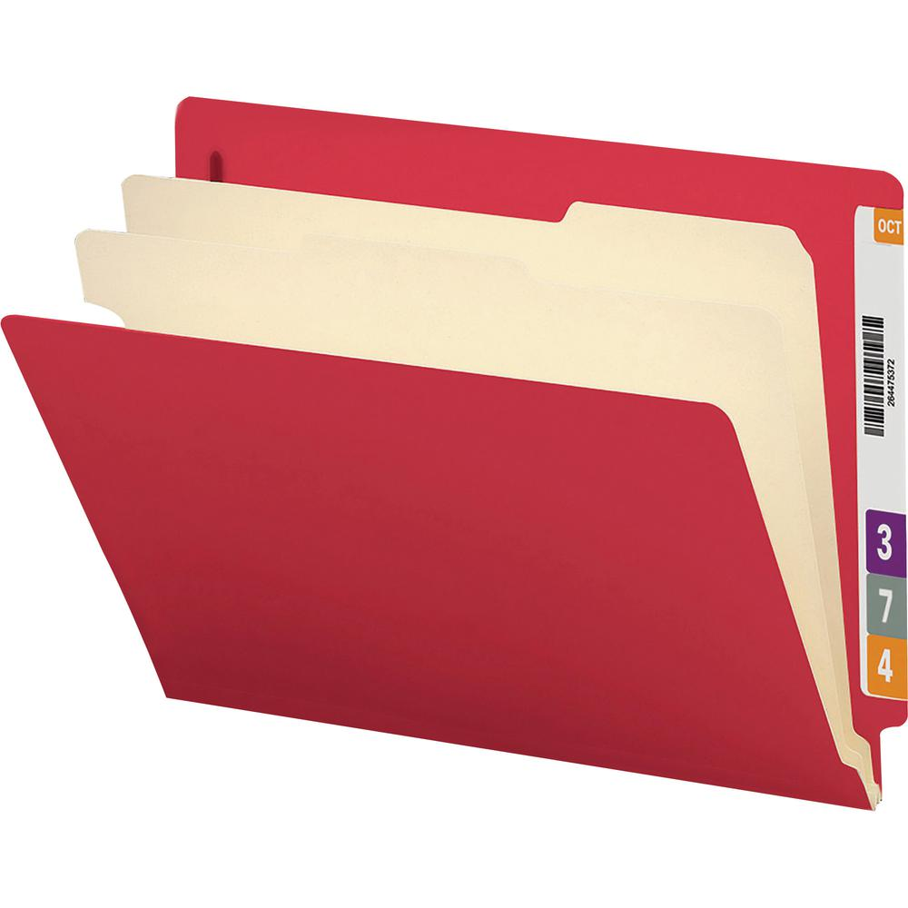 """Smead Letter Recycled Classification Folder - 8 1/2"""" x 11"""" - 2"""" Expansion - 2 x 2B Fastener(s) - 2"""" Fastener Capacity for Folder - End Tab Location - Right of Center Tab Position - 2 Divider(s) - Pres. Picture 3"""