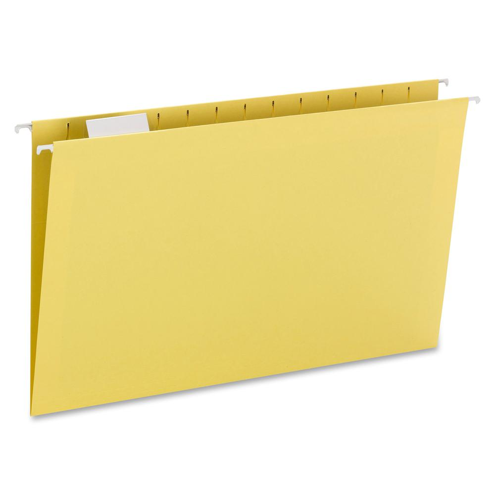 """Smead Colored 1/5 Tab Cut Legal Recycled Hanging Folder - 8 1/2"""" x 14"""" - Top Tab Location - Assorted Position Tab Position - Yellow - 10% - 25 / Box. Picture 2"""