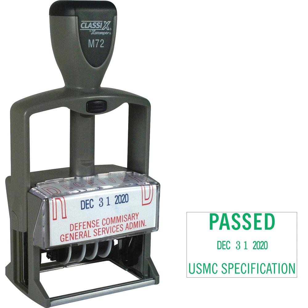 "Xstamper Plastic Self-inking Date Stamp - Custom Message/Date Stamp - 1.25"" Impression Width x 2.12"" Impression LengthPlastic Frame - 1 Each"