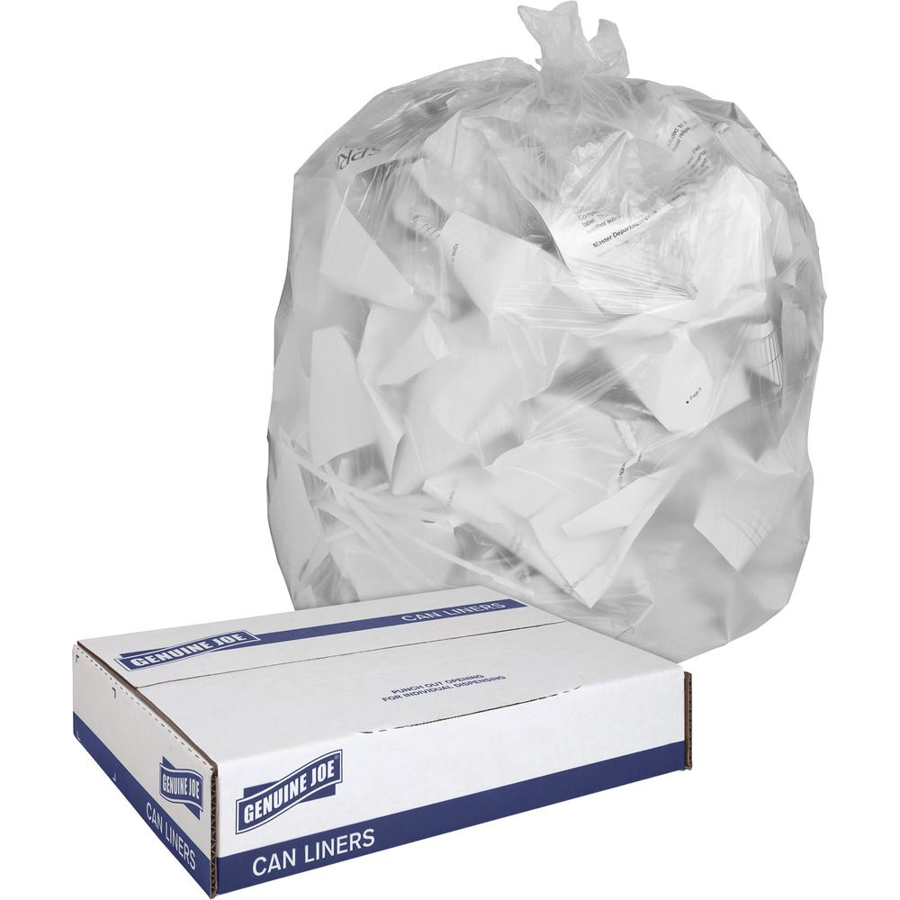"""Genuine Joe Clear Trash Can Liners - Medium Size - 30 gal - 30"""" Width x 36"""" Length x 0.60 mil (15 Micron) Thickness - Low Density - Clear - 250/Carton. Picture 5"""