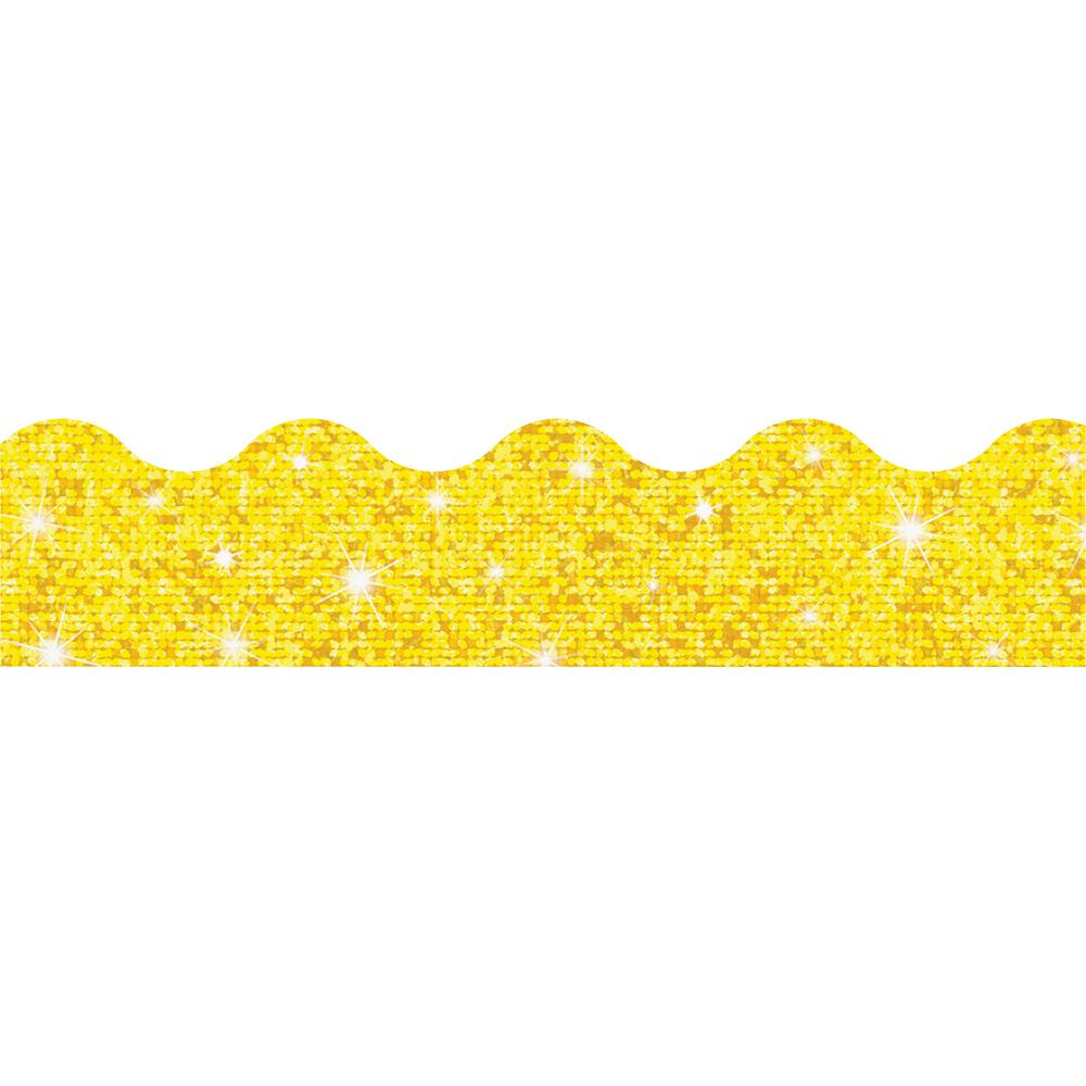 """Trend Sparkle Board Trimmers - (Rectangle Topped With Waves) Shape - Pin-up - Reusable, Precut - 0.10"""" Height x 2.25"""" Width x 390"""" Length - Yellow - Paper - 1 Pack. Picture 2"""