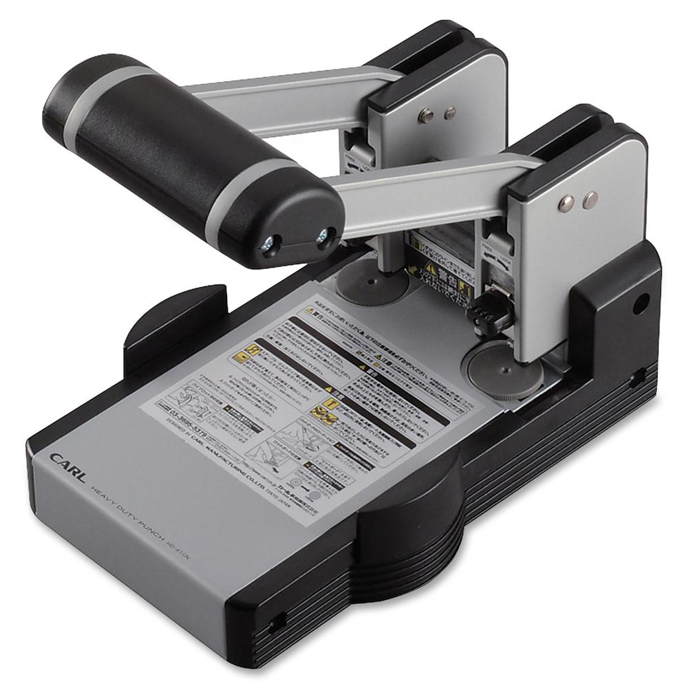 """CARL XHC2100 Extra Heavy-duty Two Hole Punch - 2 Punch Head(s) - 100 Sheet Capacity - 1/4"""" Punch Size - Blue. Picture 2"""