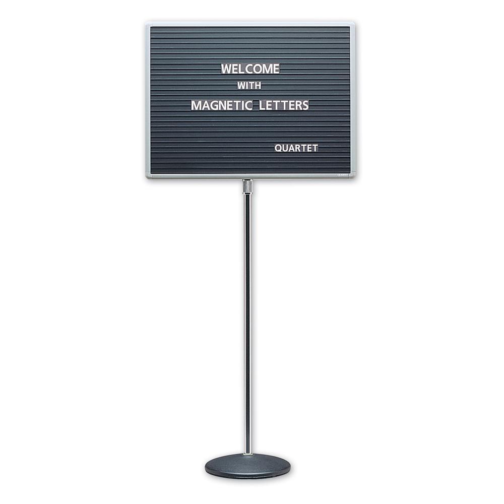 "Quartet Single-Pedestal Letter Board - 16"" Height x 20"" Width - Solid Black Surface - Magnetic, Adjustable Pedestal, Sturdy - Gray Aluminum Frame - 1 / Each"