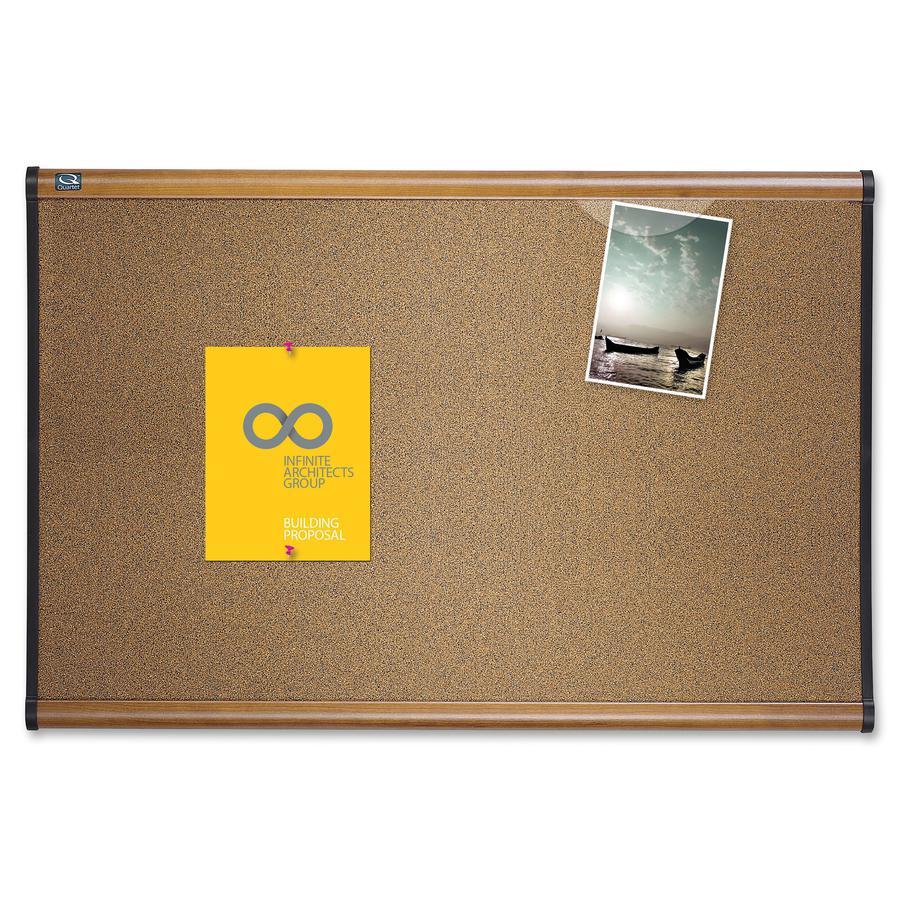 "Quartet Prestige Bulletin Board - 24"" Height x 36"" Width - Brown Cork Surface - Self-healing, Durable - Maple Frame - 1 Each. Picture 2"