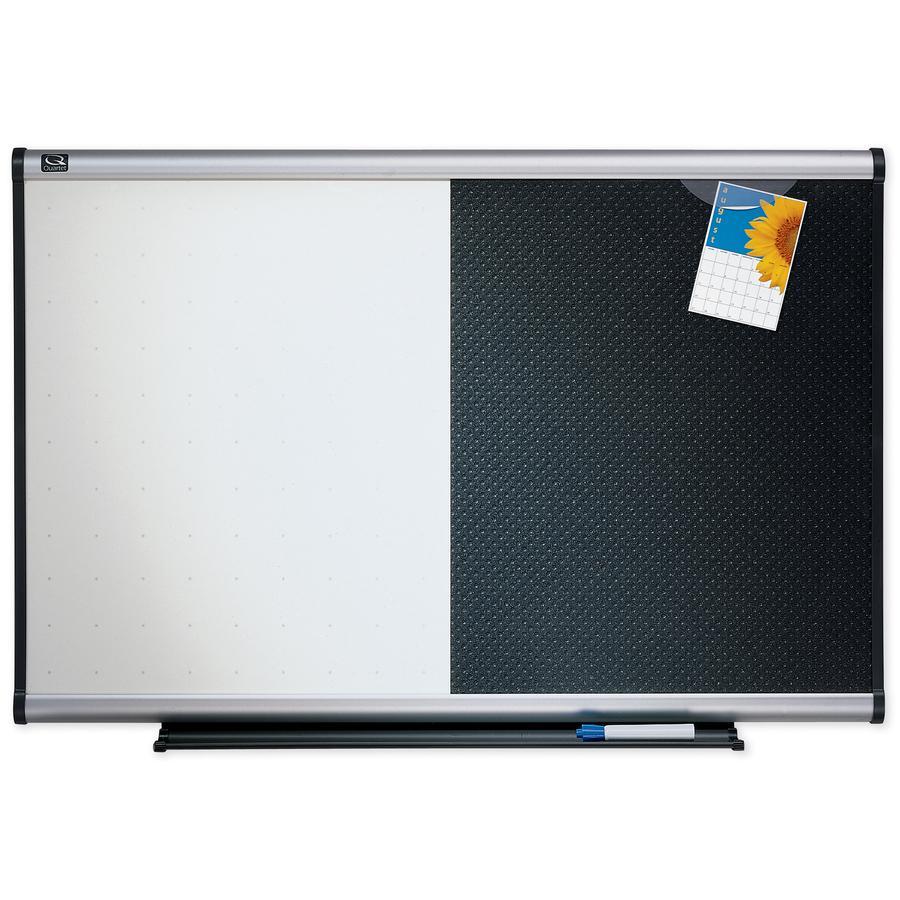"Quartet Prestige Combination Board - 36"" (3 ft) Width x 24"" (2 ft) Height - Black Foam Surface - Silver Aluminum Frame - Horizontal - 1 / Each. Picture 3"