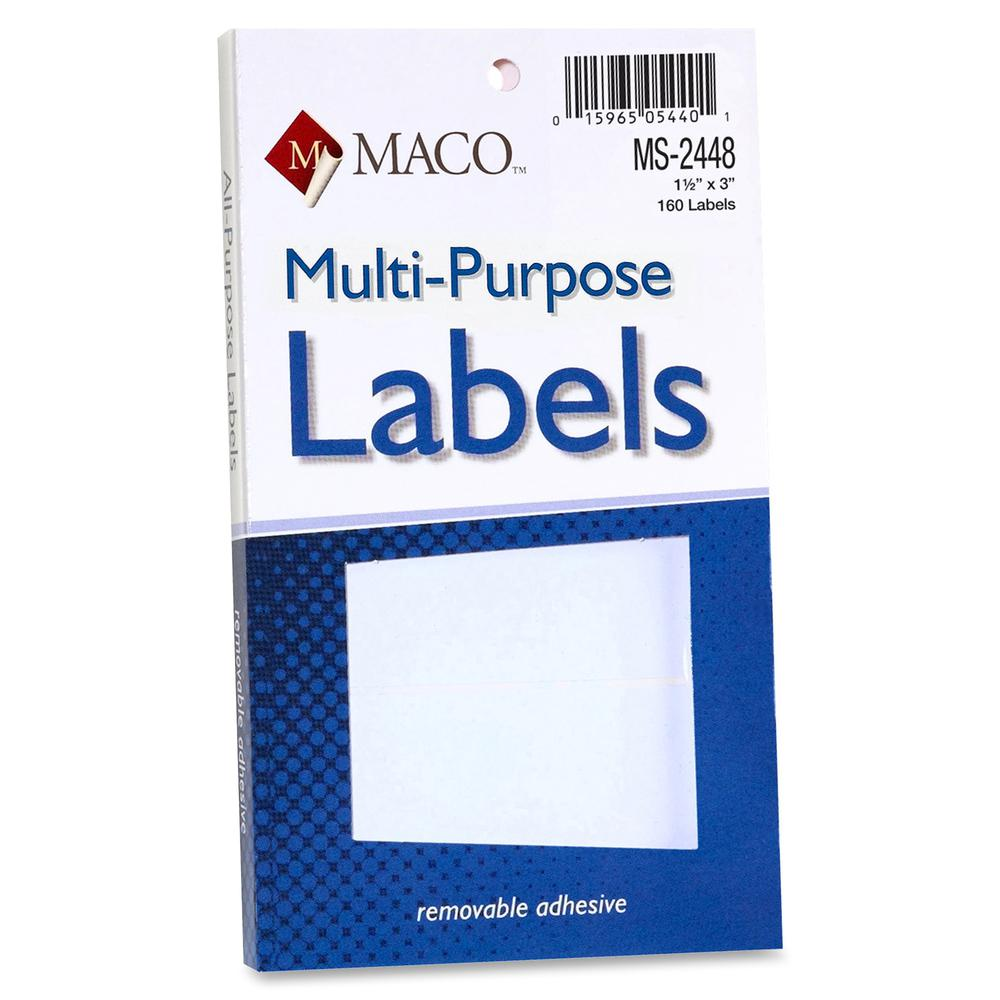 """MACO White Multi-Purpose Labels - 1 1/2"""" x 3"""" Length - Removable Adhesive - Rectangle - White - 160 / Pack. Picture 2"""