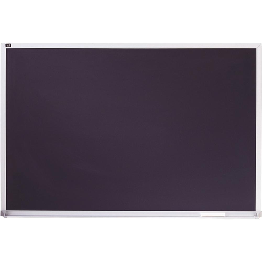 "Quartet DuraMax Porcelain Magnetic Chalkboard - 24"" (2 ft) Width x 36"" (3 ft) Height - Black Porcelain Surface - Silver Aluminum Frame - Horizontal - 1 Each. Picture 2"