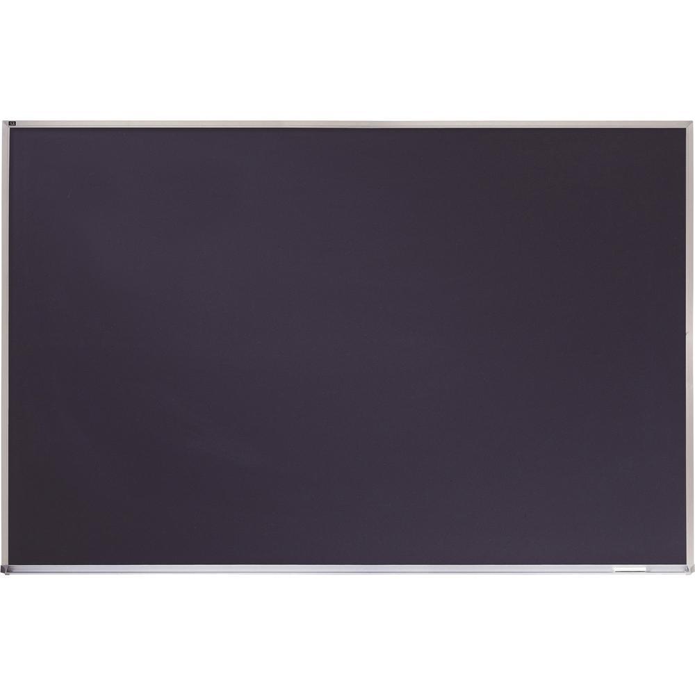 "Quartet DuraMax Porcelain Magnetic Chalkboard - 48"" (4 ft) Width x 36"" (3 ft) Height - Black Porcelain Surface - Silver Aluminum Frame - Horizontal - 1 / Each. Picture 3"