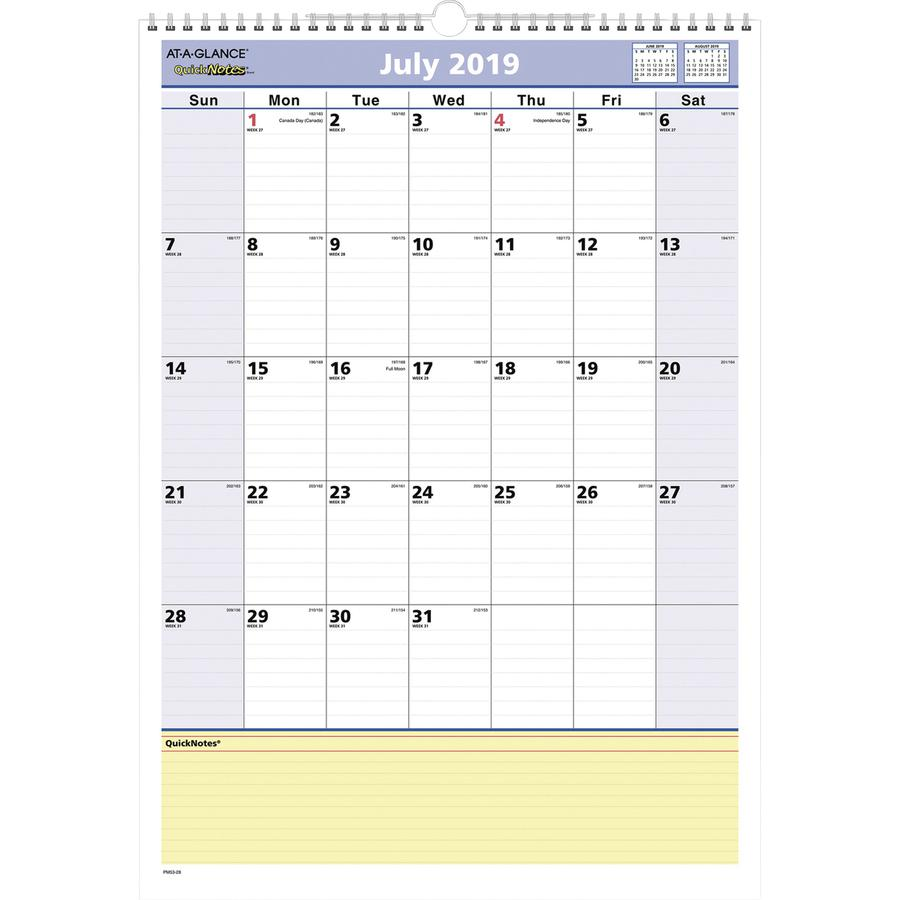 At A Glance Quicknotes Academic Monthly Wall Calendar
