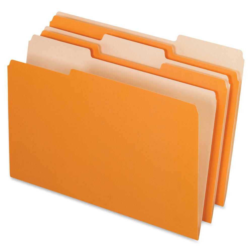 "Pendaflex Legal Size Interior File Folders - Legal - 8 1/2"" x 14"" Sheet Size - 1/3 Tab Cut - Orange - Recycled - 100 / Box. Picture 2"