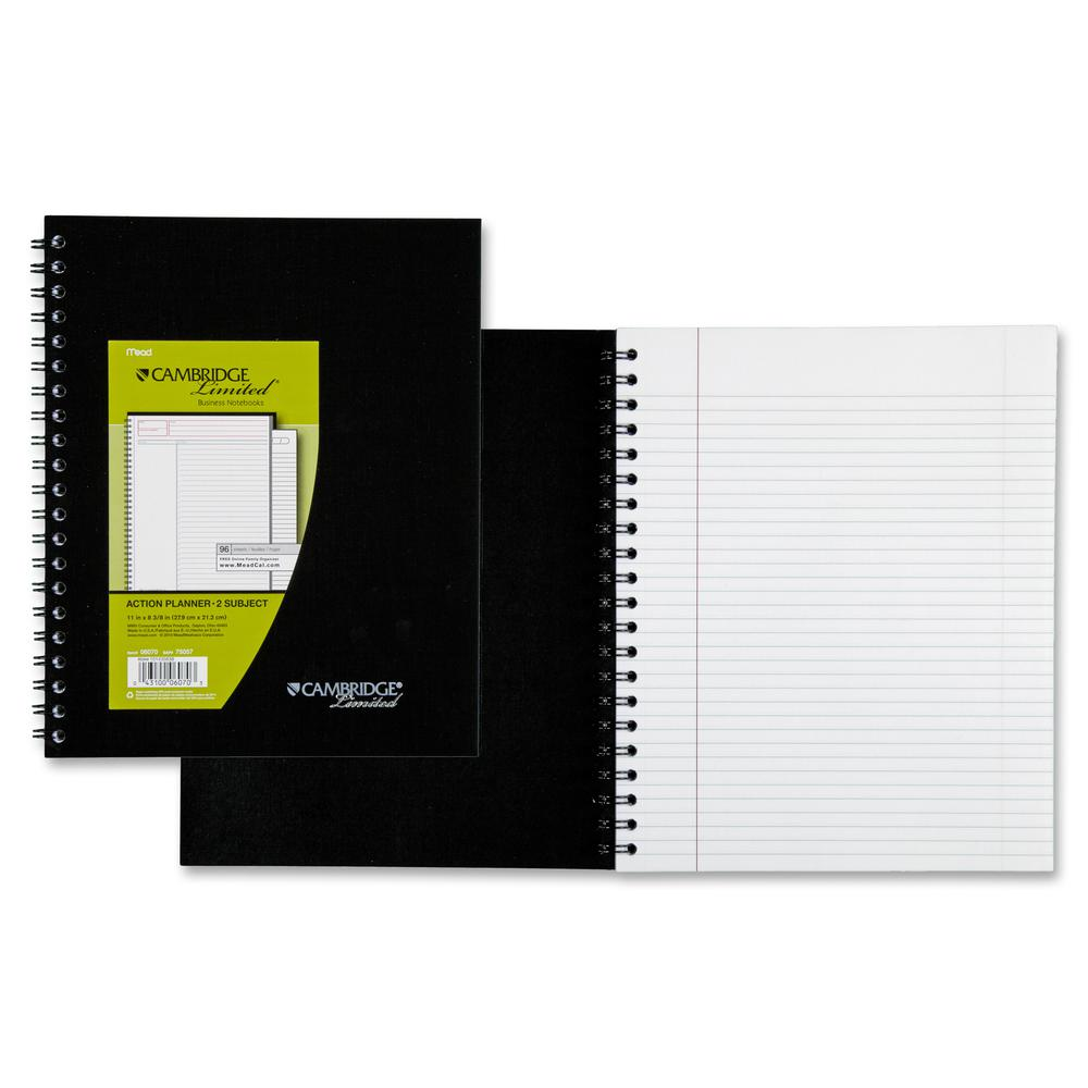 "Mead Wirebound Legal Ruled Business Notebooks - Letter - 96 Sheets - Double Wire Spiral - 20 lb Basis Weight - 8 1/2"" x 11"" - White Paper - Black Cover - Linen Cover - Bond Paper, Bleed-free, Perforat. Picture 2"