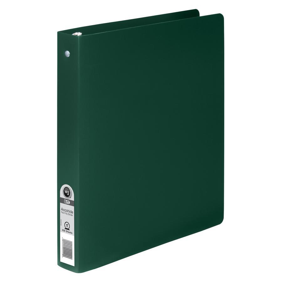 "Wilson Jones ACCOHIDE Binder - 1"" Binder Capacity - Letter - 8 1/2"" x 11"" Sheet Size - 175 Sheet Capacity - Round Ring Fastener(s) - 35 pt. Binder Thickness - Polypropylene - Dark Green - Eco-friendly. Picture 3"