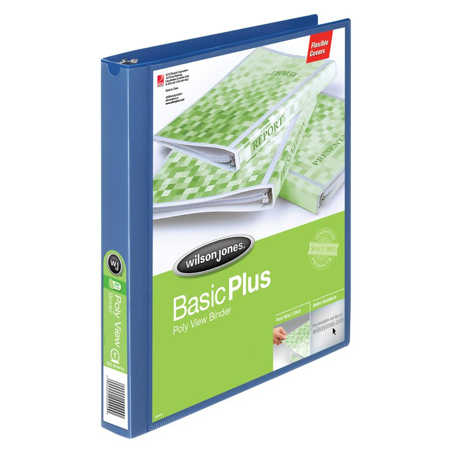 "Wilson Jones Flex Poly View Binder - 1"" Binder Capacity - Letter - 8 1/2"" x 11"" Sheet Size - 175 Sheet Capacity - Round Ring Fastener(s) - 1 Internal Pocket(s) - Polypropylene - Blue - PVC-free, Tear . Picture 6"