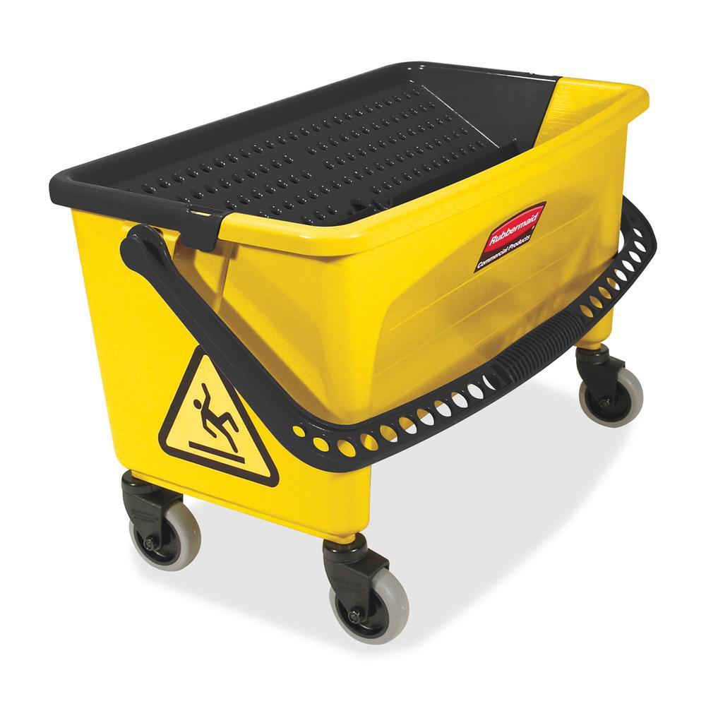 "Rubbermaid Commercial Microfiber Press Wring Bucket - Twist-valve, Non-porous - 16"" x 14"" - Yellow - 1 Each. Picture 2"