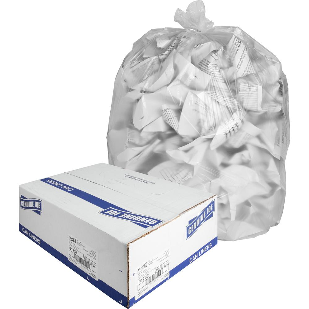 """Genuine Joe High-density Can Liners - Large Size - 45 gal - 40"""" Width x 48"""" Length x 0.63 mil (16 Micron) Thickness - High Density - Clear - Resin - 250/Carton - Office Waste, Industrial Trash. Picture 6"""