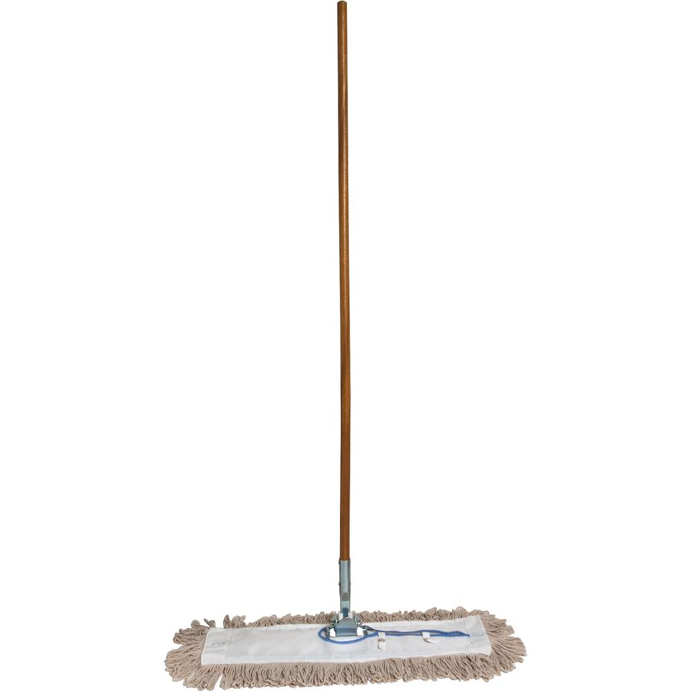 """Genuine Joe Dust Mop Complete Combo - 24"""" Cotton Head - 60"""" x 0.94"""" Wood Handle - Swivel Head, Lightweight, Chrome Plated, Absorbent, Rust Resistant, Reinforced - 1 Each. Picture 5"""