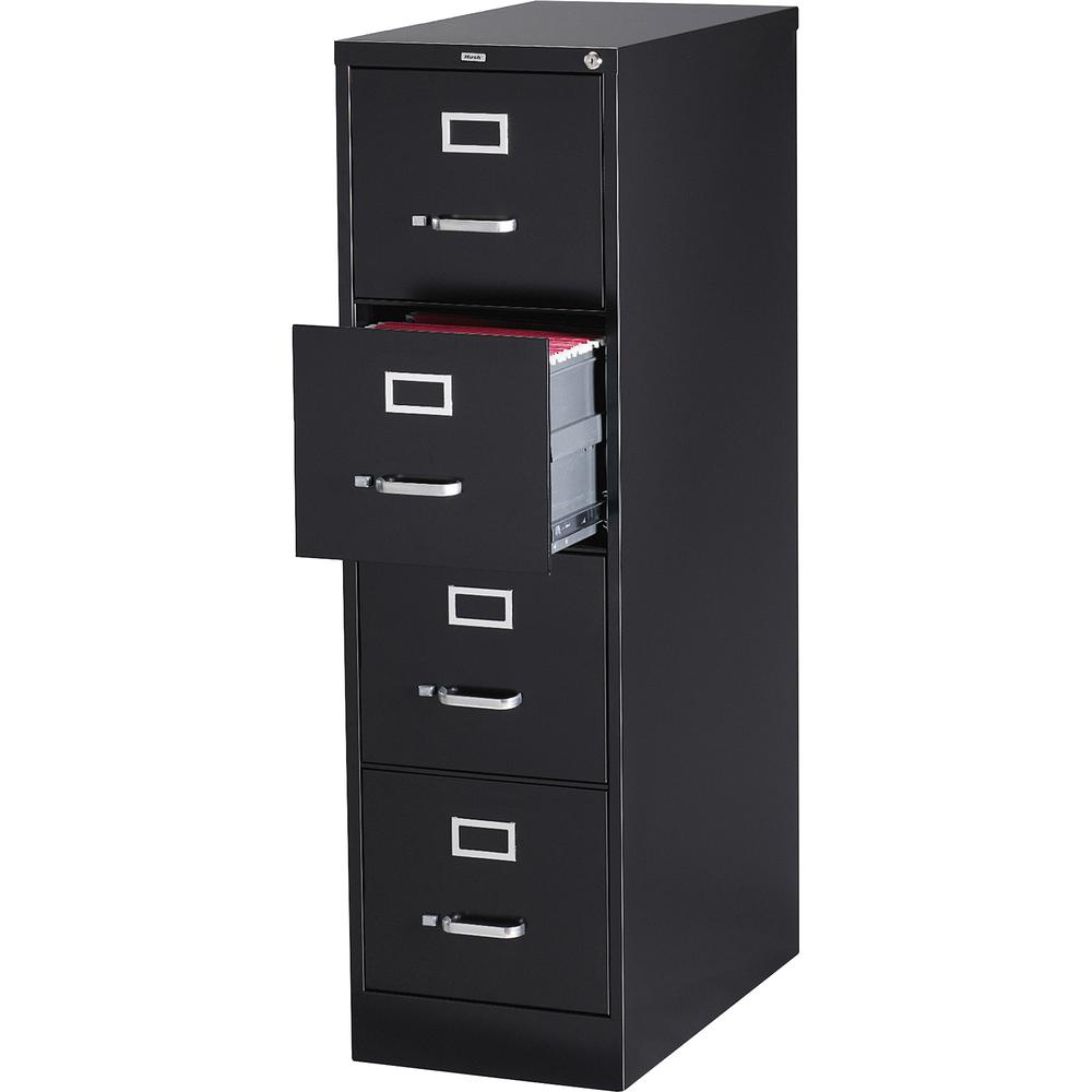 "Lorell Vertical file - 4-Drawer - 15"" x 26.5"" x 52"" - 4 x Drawer(s) for File - Letter - Vertical - Security Lock, Ball-bearing Suspension, Heavy Duty - Black - Steel - Recycled. Picture 2"