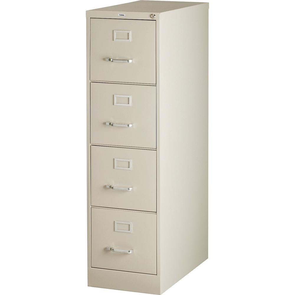 """Lorell Vertical file - 4-Drawer - 15"""" x 26.5"""" x 52"""" - 4 x Drawer(s) for File - Letter - Vertical - Security Lock, Ball-bearing Suspension, Heavy Duty - Putty - Steel - Recycled. Picture 2"""