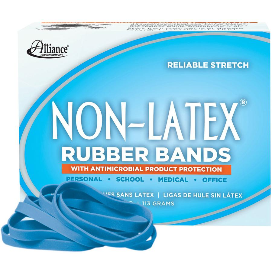 """Alliance Rubber 42649 Non-Latex Rubber Bands with Antimicrobial Protection - Size #64 - 1/4 lb. box contains approx. 95 bands - 3 1/2"""" x 1/4"""" - Cyan blue. Picture 3"""