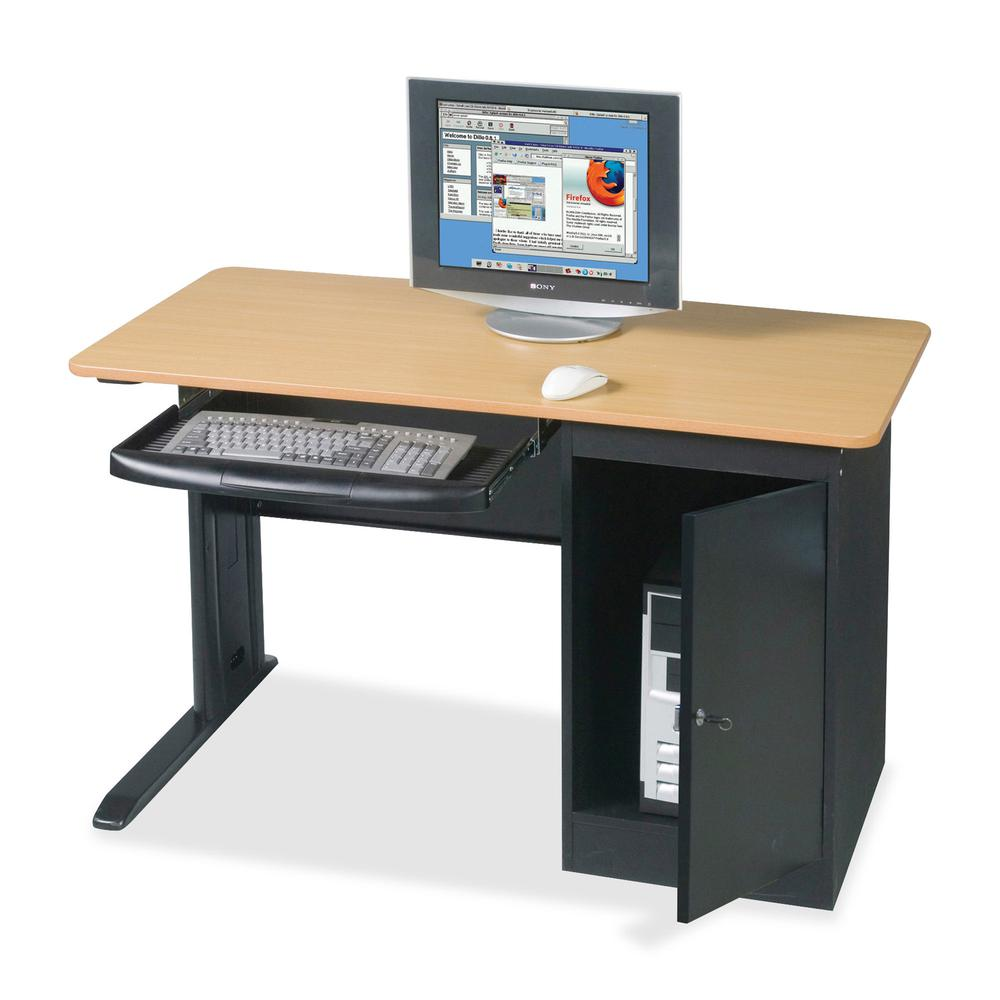 """MooreCo Locking Computer Workstation - Teak Top - Powder Coated Base - 1 Drawers - 0.75"""" Table Top Thickness - Assembly Required - Laminated. Picture 2"""