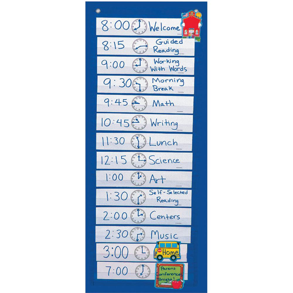 """Carson Dellosa Education Scheduling Pocket Chart - 14 Pocket(s) - 33"""" Height x 13"""" Width - Flame Retardant, Wall Mountable - Blue - Nylon - 1 Each. Picture 2"""