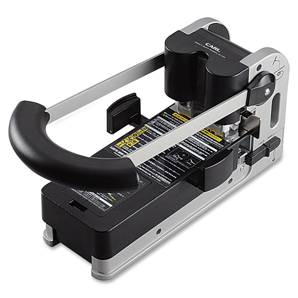 """CARL Extra Heavy-duty Two-hole Punch - 2 Punch Head(s) - 300 Sheet Capacity - 1/4"""" Punch Size - Round Shape - Silver. Picture 2"""