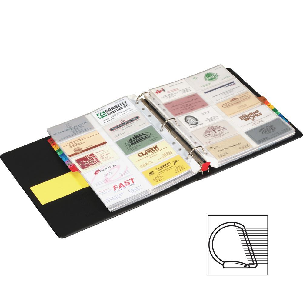 "Cardinal EasyOpen Card File Binder - 400 Capacity - 8.50"" Width x 11"" Length - 3-ring Binding - Refillable - Black Vinyl Cover"