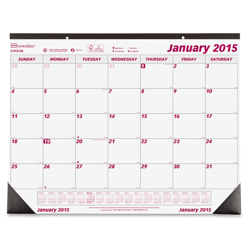 Brownline Monthly Desk Pad Wall Calendar Monthly 1 3