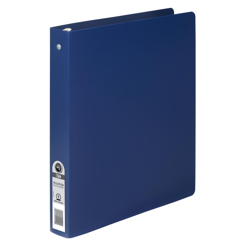 "Wilson Jones ACCOHIDE Binder - 1"" Binder Capacity - Letter - 8 1/2"" x 11"" Sheet Size - 175 Sheet Capacity - Round Ring Fastener(s) - 35 pt. Binder Thickness - Polypropylene - Blue - Eco-friendly, PVC-. Picture 3"