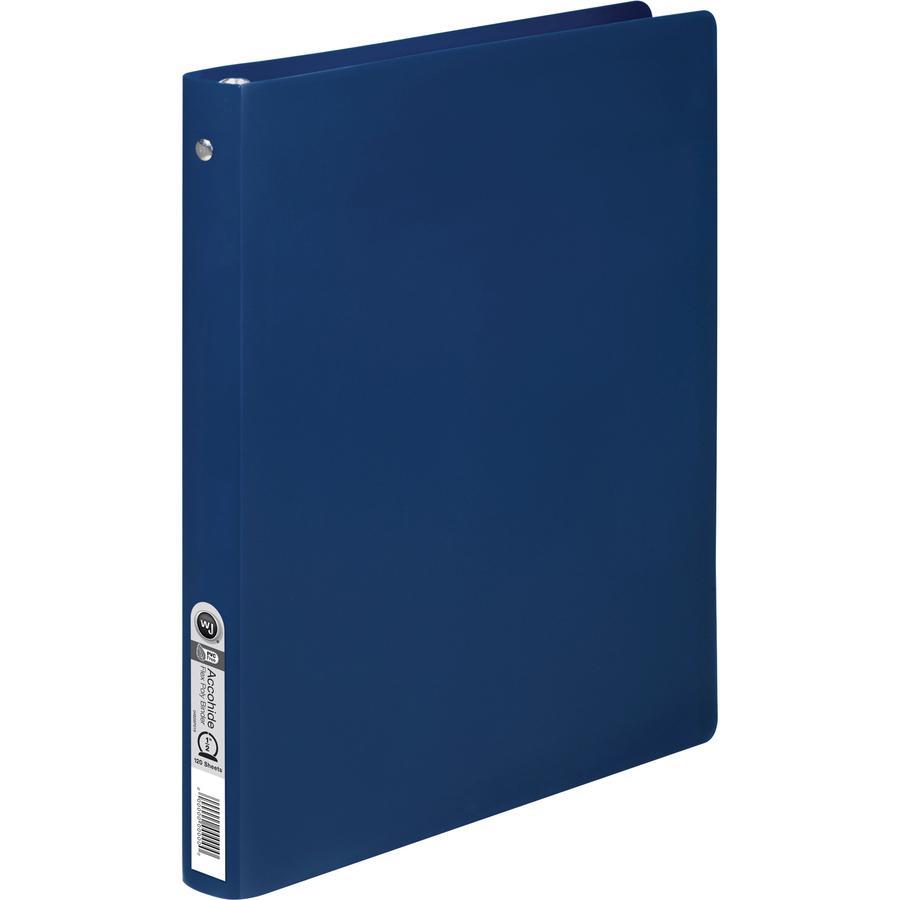 "Wilson Jones AccoHide Binder - 1/2"" Binder Capacity - Letter - 8 1/2"" x 11"" Sheet Size - 120 Sheet Capacity - Round Ring Fastener(s) - 23 pt. Binder Thickness - Polypropylene - Blue - Eco-friendly, PV. Picture 4"