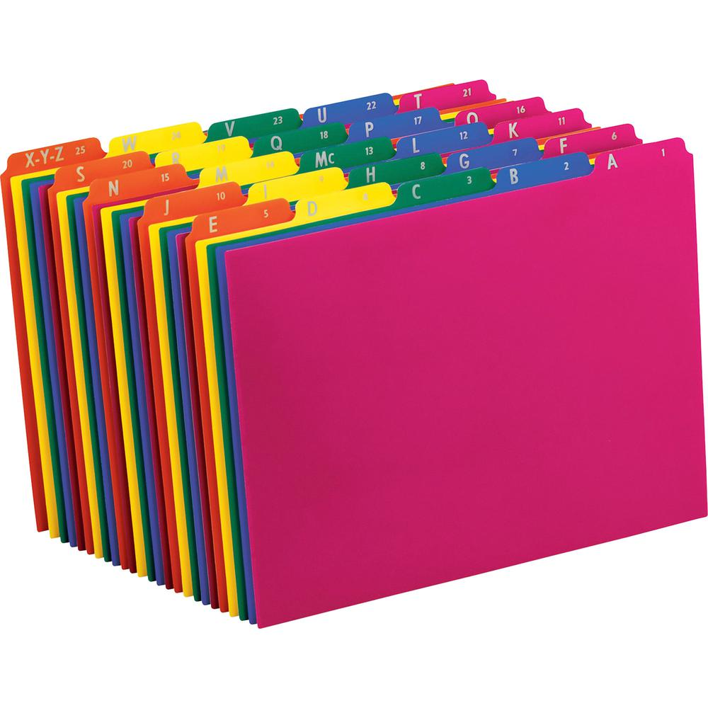 """Pendaflex Top Tab Assorted A-Z File Guides - 5 Printed Tab(s) - Character - A-Z - 8.5"""" Divider Width x 11"""" Divider Length - Letter - Blue Polypropylene, Green, Yellow, Magenta, Strawberry Tab(s) - 25 . Picture 2"""