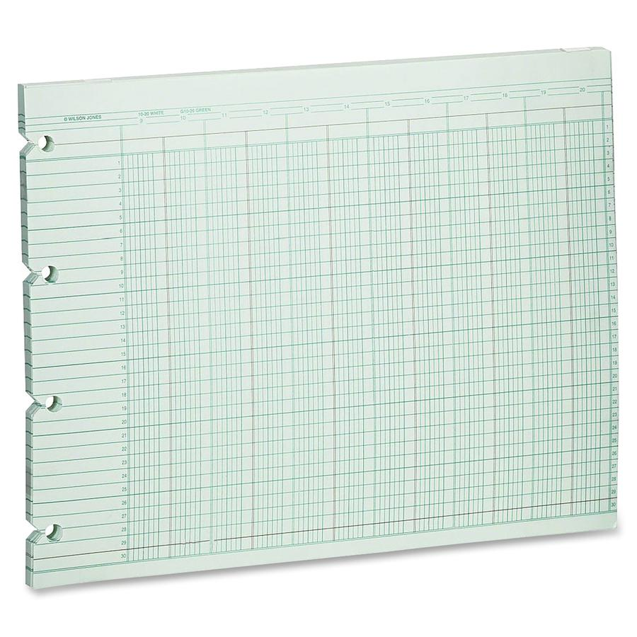 """Wilson Jones 20-Column Ruled Sheets - 24 lb - Double Sided Sheet - 14"""" x 11"""" Sheet Size - 2 x Holes - 20 Columns per Sheet - Green Sheet(s) - Brown, Green Print Color - Paper - 100 / Pack. Picture 2"""