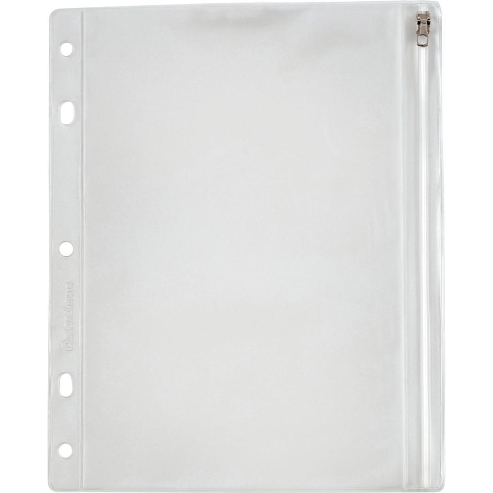 "Oxford Zipper Binder Pockets - 10 1/2"" x 8"" Sheet - Ring Binder - Rectangular - Clear, White - Poly - 1 Each. Picture 6"