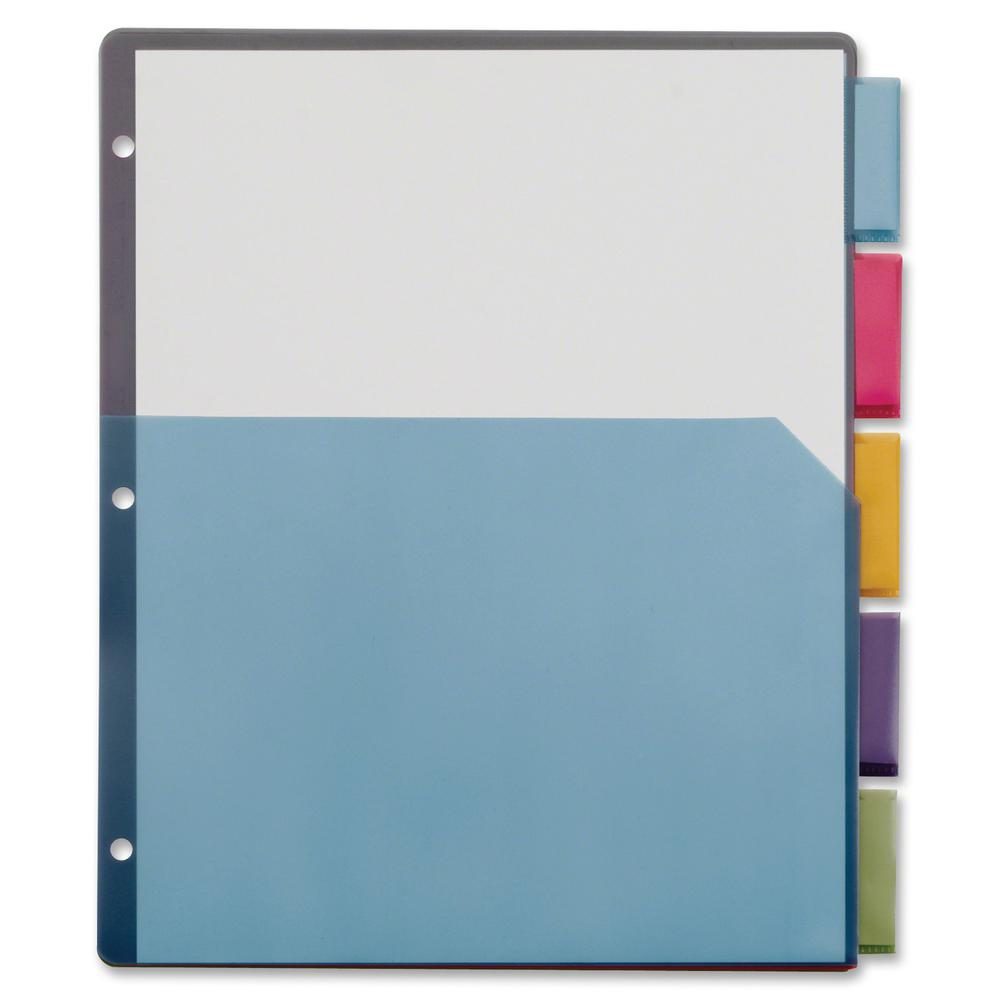 """Cardinal Extra-tough Poly Dividers - 20 Tab(s) - 5 Tab(s)/Set - 8.5"""" Divider Width x 11"""" Divider Length - Letter - 3 Hole Punched - Multicolor Poly Divider - Multicolor Poly Tab(s) - 4 / Pack. Picture 3"""