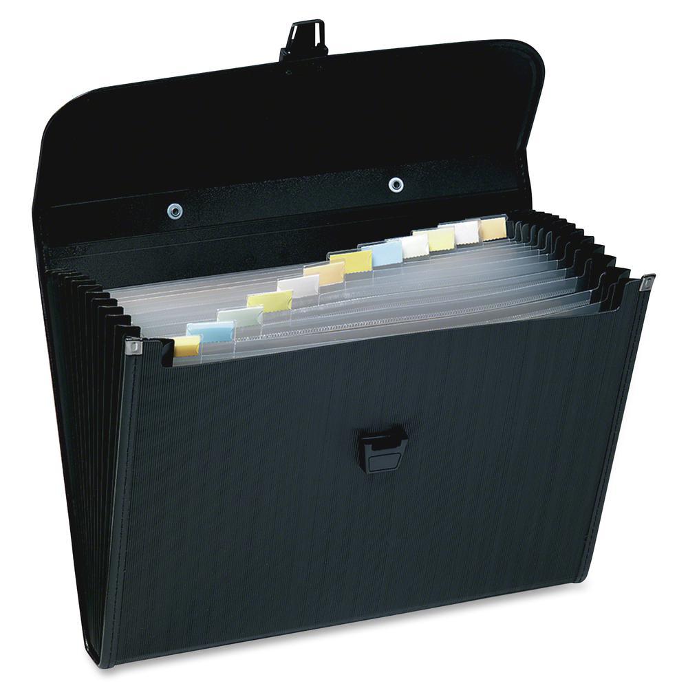 "Wilson Jones Letter Expanding File - 10"" x 12"" - 5 1/4"" Expansion - 13 Pocket(s) - Polypropylene - Black - 1 / Each. Picture 2"
