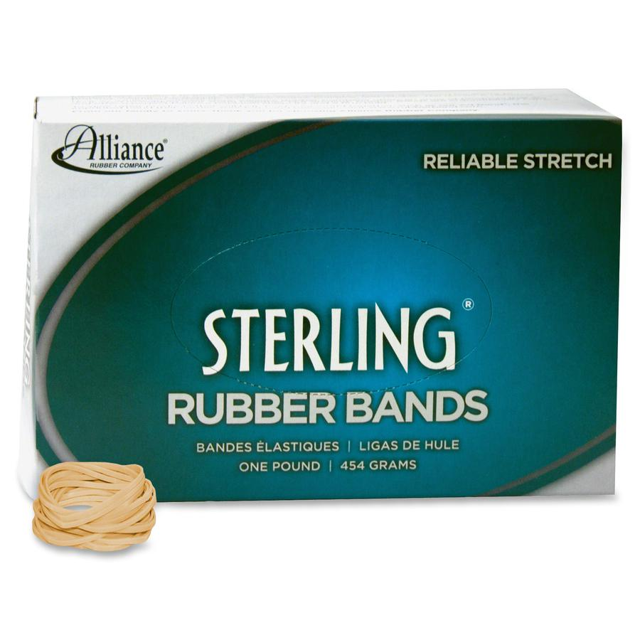 """Alliance Rubber 24125 Sterling Rubber Bands - Size #12 - Approx. 3400 Bands - 1 3/4"""" x 1/16"""" - Natural Crepe - 1 lb Box. Picture 2"""