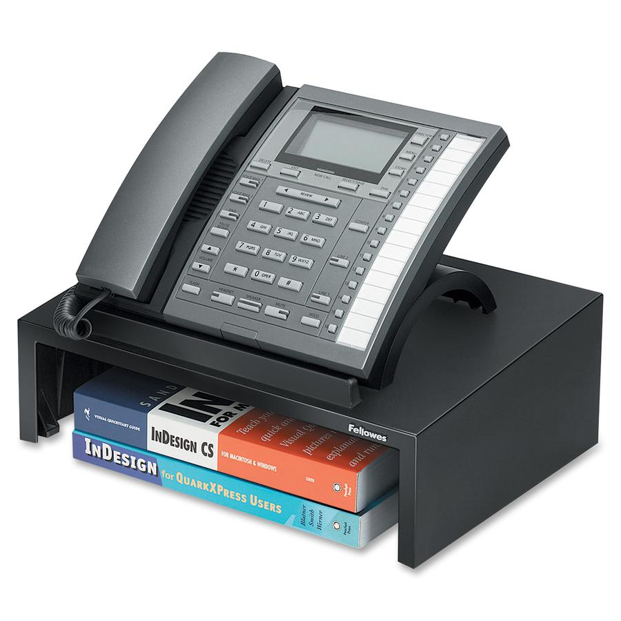 """Fellowes Designer Suites™ Phone Stand - 4.4"""" Height x 13"""" Width x 9.1"""" Depth - Pearl, Black. Picture 2"""