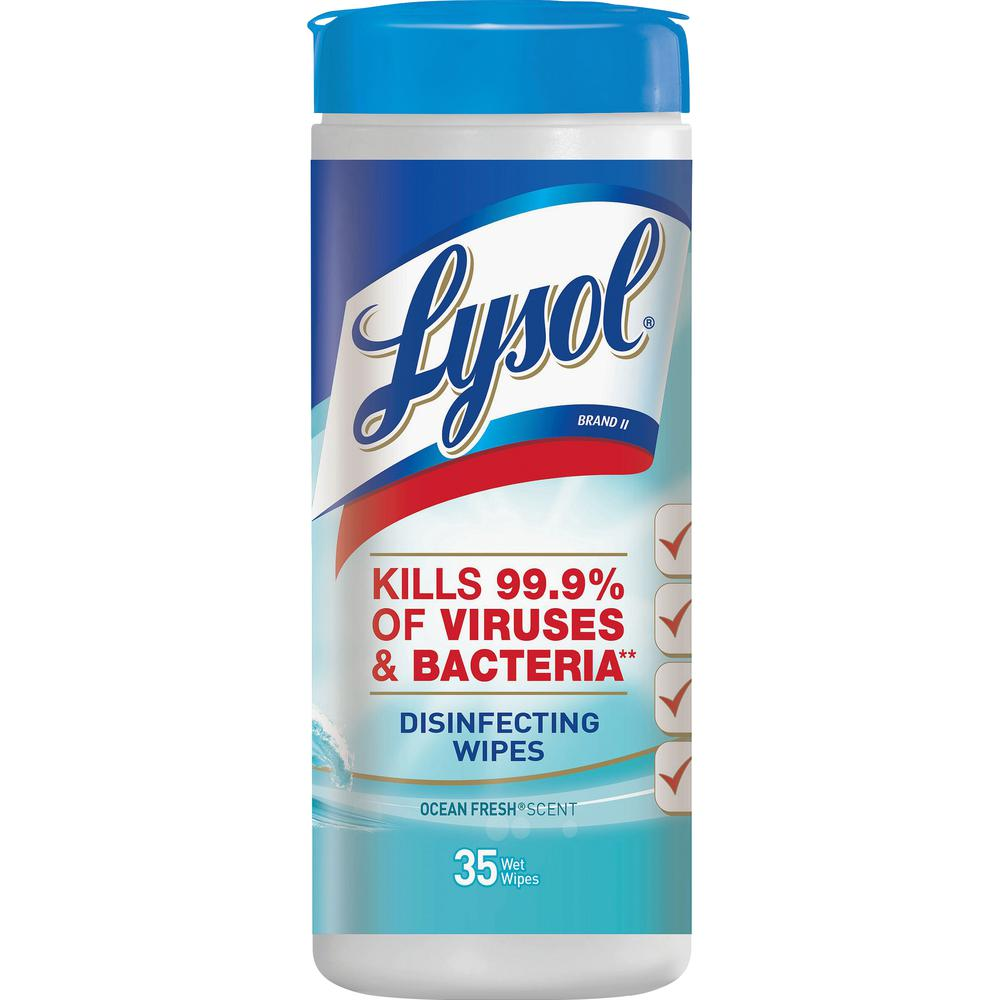 """Lysol Ocean Fresh Disinfecting Wipes - Ocean Fresh - 8"""" x 7"""" - White - Bleach-free, Disinfectant, Anti-bacterial, Pre-moistened - For Healthcare, School - 35 Per Tub - 35 / Each. Picture 2"""