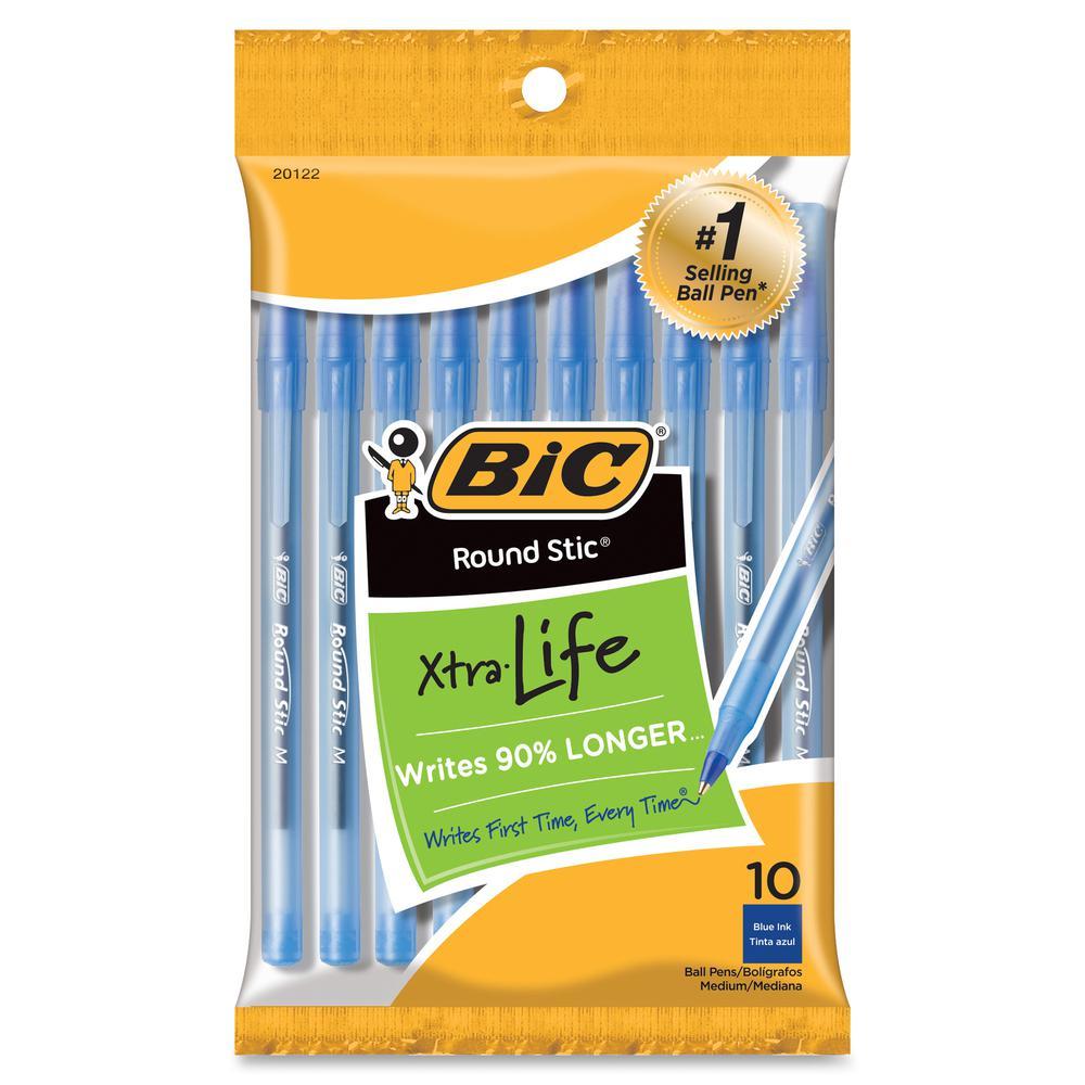 BIC Round Stic Ballpoint Pens - Medium Pen Point - Blue - 12 / Pack. Picture 2