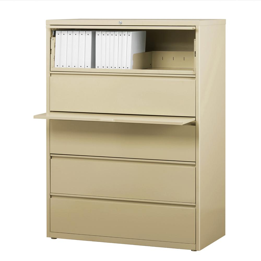 "Lorell Lateral File - 5-Drawer - 42"" x 18.6"" x 67.7"" - 5 x Drawer(s) for File - Legal, Letter, A4 - Lateral - Rust Proof, Leveling Glide, Interlocking, Ball-bearing Suspension, Label Holder - Putty - . Picture 4"